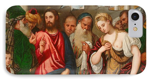 Christ And The Woman Taken In Adultery Phone Case by Veronese