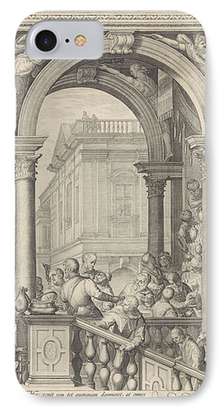 Christ At A Meal In The House Of Levi The Publican Plate 3 IPhone Case by Jan Saenredam And Paolo Veronese And Frederik De Wit
