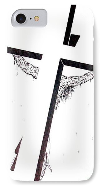 IPhone Case featuring the drawing Christ On Cross by Justin Moore