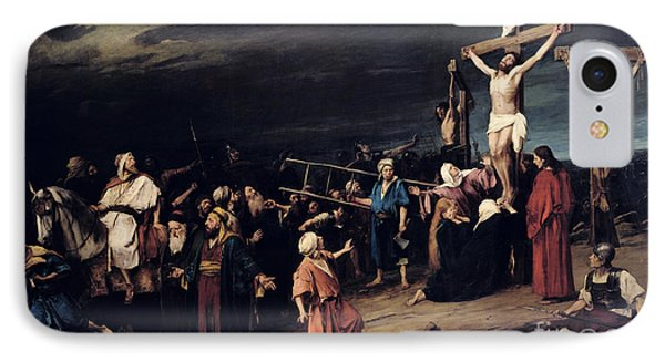 Christ On The Cross IPhone Case by Mihaly Munkacsy