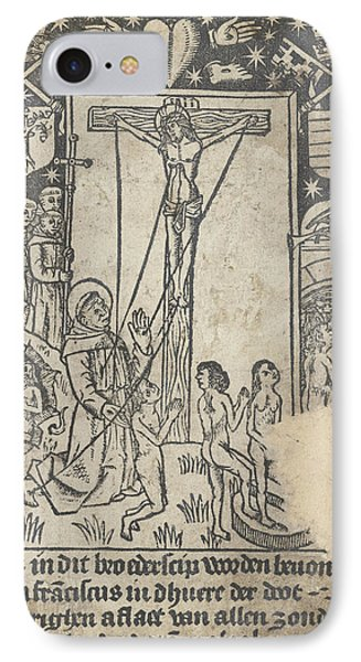 Christ On The Cross With St IPhone Case by Anonymous
