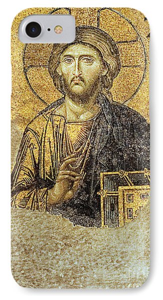 IPhone Case featuring the photograph Christ Pantocrator-detail Of Deesis Mosaic Hagia Sophia-judgement Day by Urft Valley Art