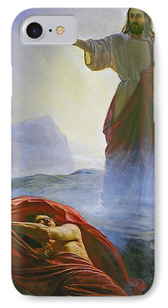 Christ Rebuking Satan IPhone Case by Carl Bloch