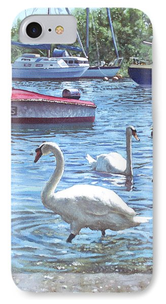 Christchurch Harbour Swans And Boats Phone Case by Martin Davey