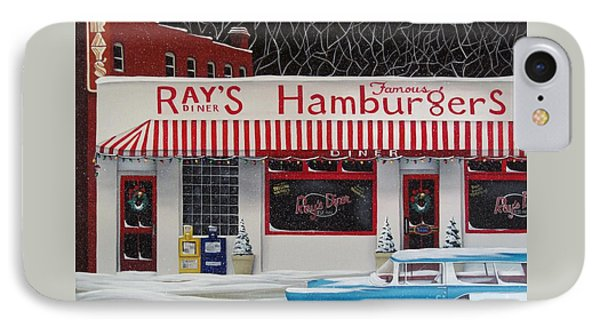 Christmas At Ray's Diner Phone Case by Catherine Holman