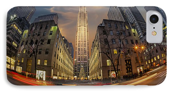 Christmas At Rockefeller Center IPhone Case by Susan Candelario