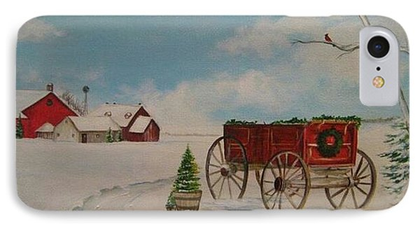 Christmas At The Farm Phone Case by Kendra Sorum