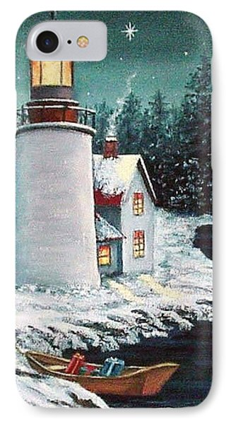 Christmas At The Light IPhone Case by Fran Brooks