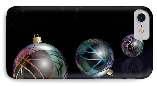 Christmas Baubles Reflected Phone Case by Jane Rix