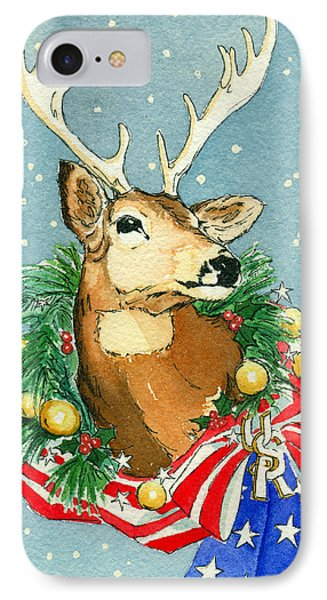 IPhone Case featuring the painting Christmas Buck by Katherine Miller