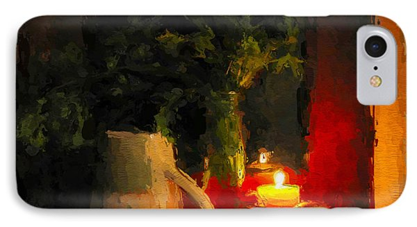 IPhone Case featuring the painting Christmas Candle Light by Wayne Pascall