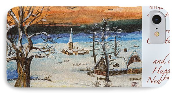 IPhone Case featuring the painting Christmas Card Painting by Peter v Quenter