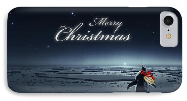 Christmas Card - Penguin Black IPhone Case by Cassiopeia Art