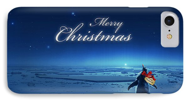 Christmas Card - Penguin Blue IPhone Case by Cassiopeia Art