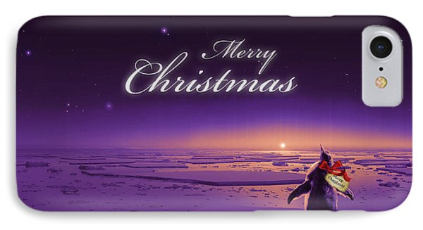 Christmas Card - Penguin Purple IPhone Case by Cassiopeia Art
