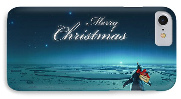 Christmas Card - Penguin Turquoise IPhone Case by Cassiopeia Art