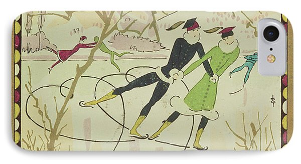 Christmas Card With Figure Skaters Phone Case by American School