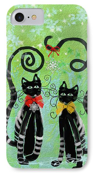 Christmas Cats IPhone Case by Arline Wagner