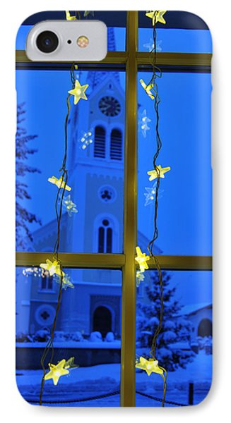 Christmas Decoration - Yellow Stars And Blue Church Phone Case by Matthias Hauser