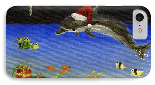 Christmas Dolphin And Friends Phone Case by Jamie Frier