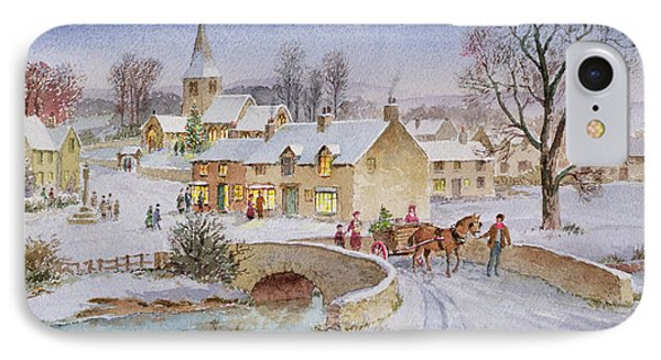 Christmas Eve In The Village  IPhone Case by Stanley Cooke
