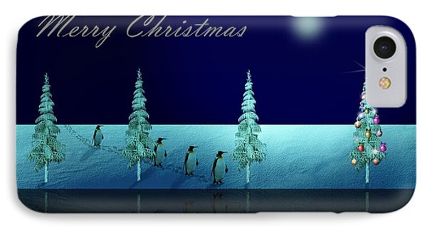 Christmas Eve Walk Of The Penguins  IPhone Case