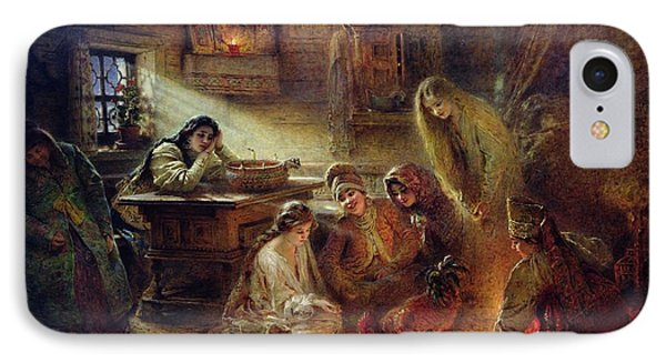 Christmas Fortune Telling Oil On Canvas IPhone Case by Konstantin Egorovich Makovsky