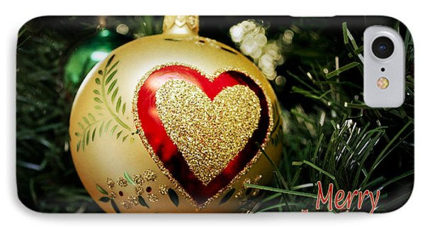 IPhone Case featuring the photograph Christmas Gold Ball With Heart And Greeting by Maria Janicki