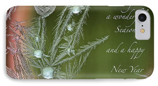 IPhone Case featuring the mixed media Christmas Greeting Card Ice Flowers by Peter v Quenter