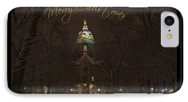 Christmas Greeting Card Notre Dame Golden Dome In Night Sky And Snow IPhone Case