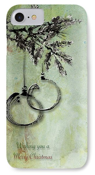 IPhone Case featuring the painting Christmas Greeting Card With Ink Brush Drawing by Peter v Quenter
