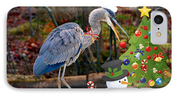 Christmas Heron Phone Case by Angel Cher
