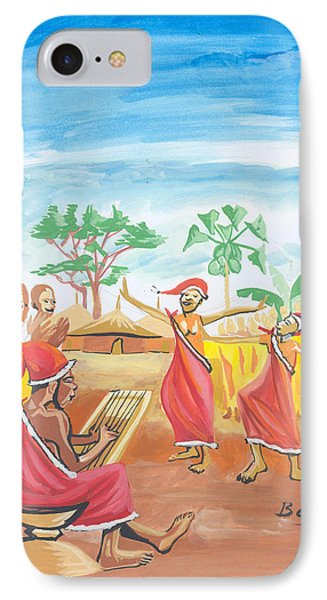 IPhone Case featuring the painting Christmas In Rwanda by Emmanuel Baliyanga