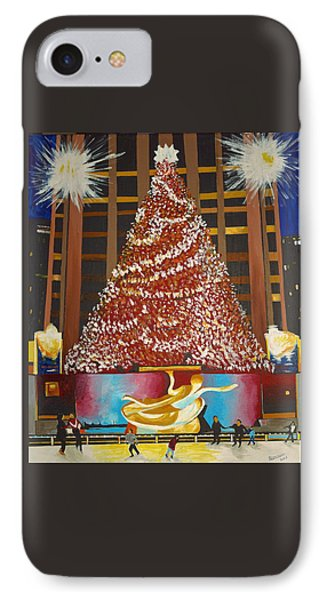 IPhone Case featuring the painting Christmas In The City by Donna Blossom
