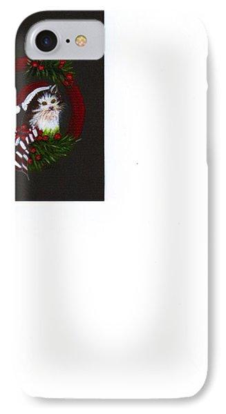 Christmas Kitten IPhone Case by Catherine Swerediuk