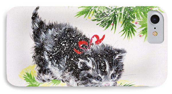 Christmas Kitten IPhone Case by Diane Matthes