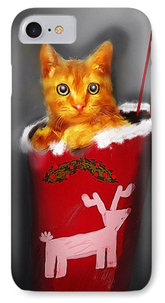 Christmas Kitten IPhone Case by Ken Morris