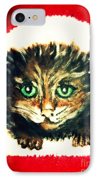 IPhone Case featuring the painting Christmas Kitten  by Mindy Bench