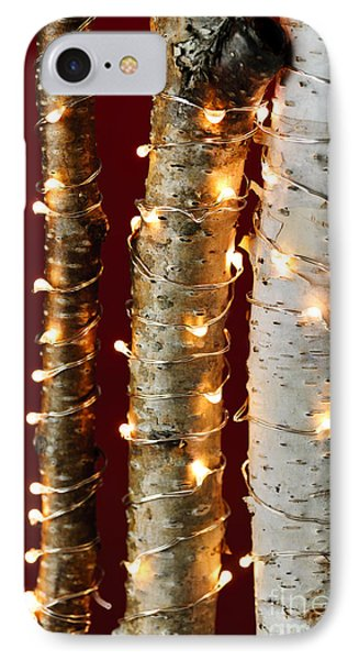 Christmas Lights On Birch Branches Phone Case by Elena Elisseeva