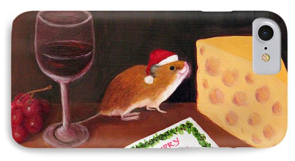 IPhone Case featuring the painting Christmas Mouse by Janet Greer Sammons
