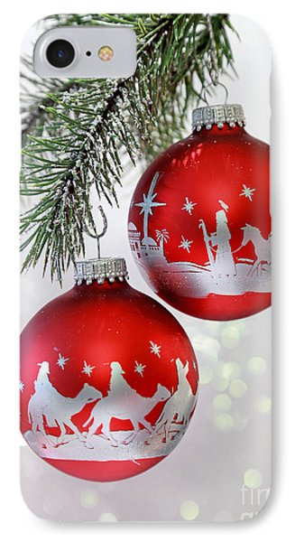 Christmas Nativity Ornaments IPhone Case by Pattie Calfy