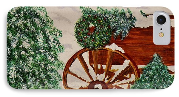 IPhone Case featuring the painting Christmas On The Farm by Celeste Manning