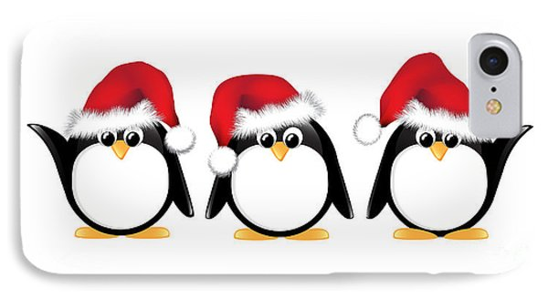 Christmas Penguins Isolated Phone Case by Jane Rix