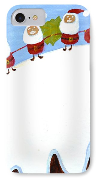 IPhone Case featuring the painting Christmas Pudding And Santas by Magdalena Frohnsdorff