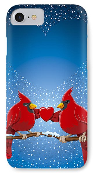 Christmas Red Cardinal Twig Snowing Heart IPhone Case