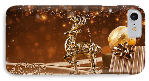 Christmas Reindeer In Gold IPhone Case by Doc Braham
