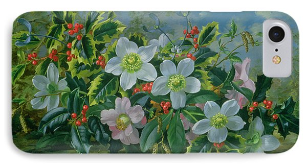Christmas Roses And Holly IPhone Case by Albert Williams