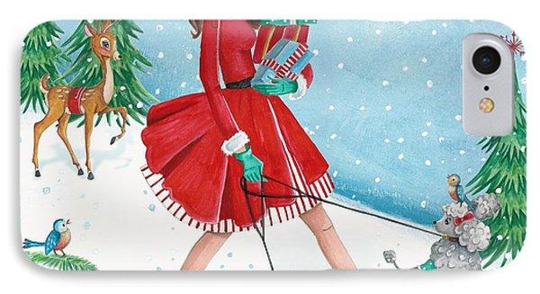 Christmas Shopping IPhone Case by Caroline Bonne-Muller