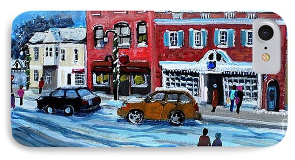 IPhone Case featuring the painting Christmas Shopping In Concord Center by Rita Brown