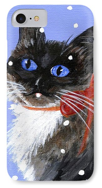 Christmas Siamese IPhone Case by Jamie Frier